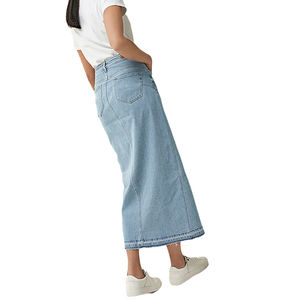 OEM high quality wholesale light blue casual ladies denim long skirt
