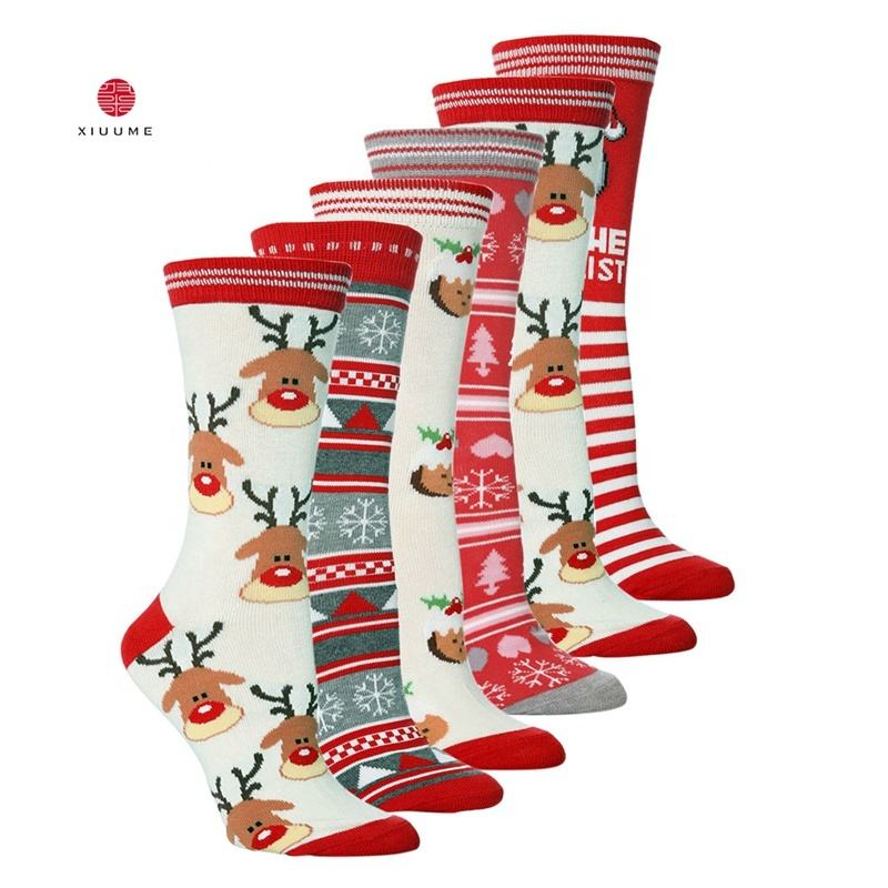 Amazon hotsale oem new designs high quality cotton happy women mens christmas socks