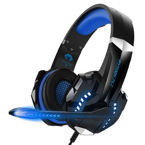 Headphone Gamer Kamuflase Terbaik, Headset Gaming Biru PS4 Kabel USB, Headphone Stereo LED 7.1 untuk Ponsel dengan MIK