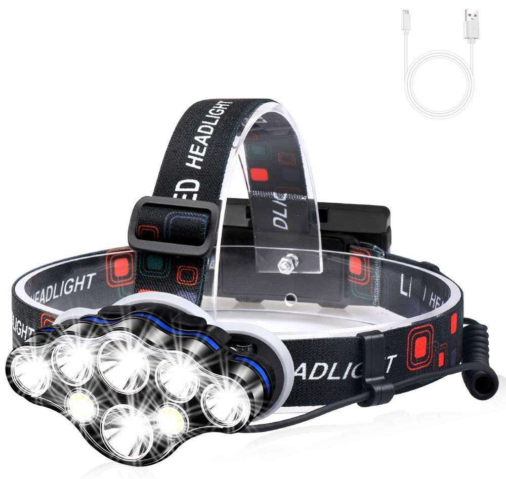 White Red Safety Light Best 8 LED Headlamp Flashlight , High Power Waterproof Led Head 13000 Lumen USB Rechargeable Headlamp