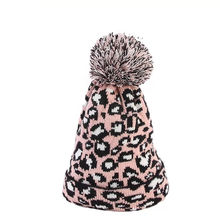 Wholesale knitted winter hat Fashionable Leopard Pattern printing winter warm hat