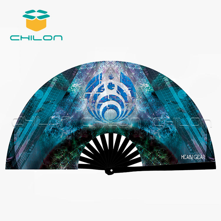 Bamboo and nylon-cloth folding hand fan with custom design