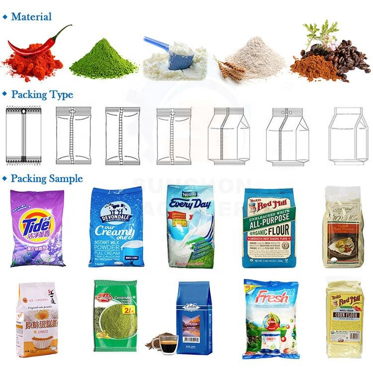 Detergent Powder Packaging Machine Automatic 100g 500g 1kg 2kg 5kg Flour Detergent Powder Filling Packing Machine