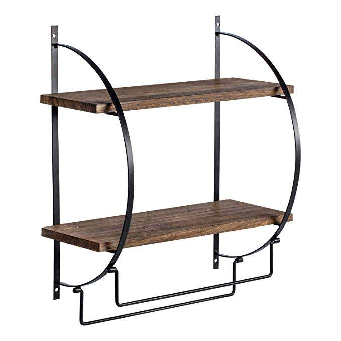 2 Tier Wood Storage Wall Mounted Floating Shelf with Towel Rods for Bathroom and Kitchen