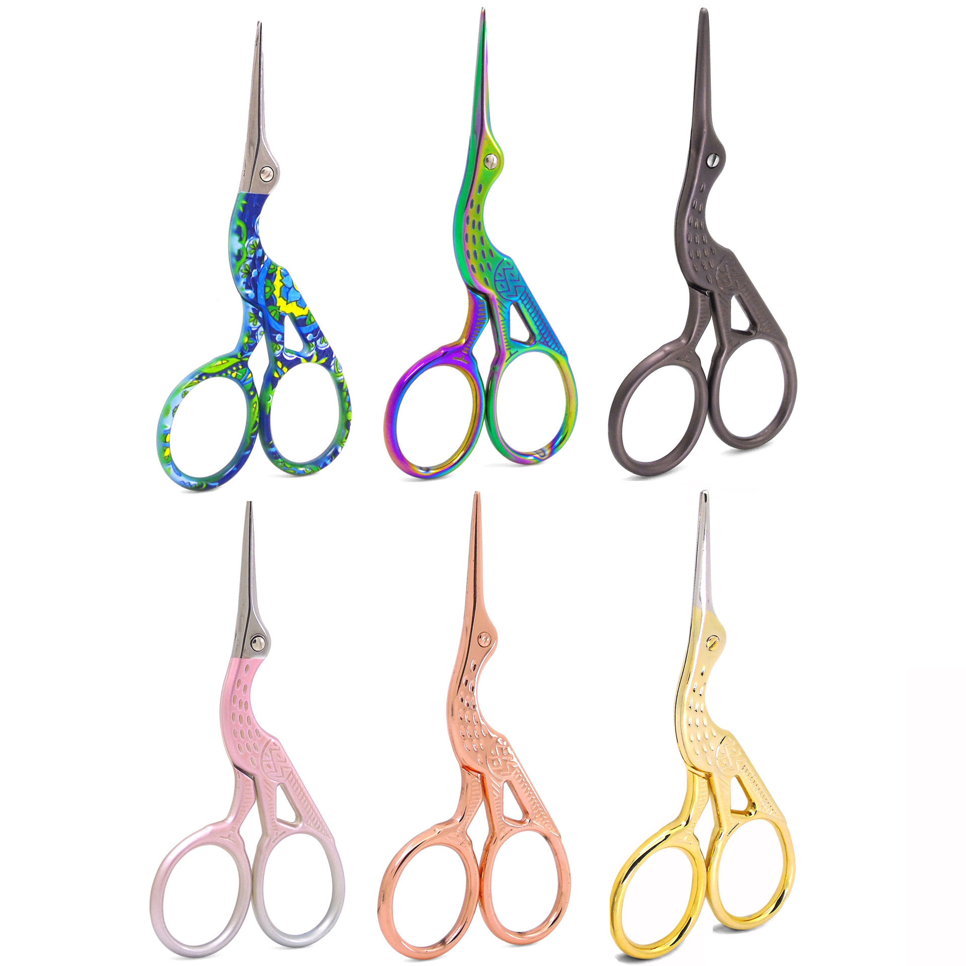 Wholesale Rose Gold/Rainbow Stainless Steel Beauty Trimming Curved Eyebrow Scissors