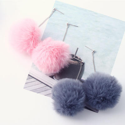 Winter Pom pom Ball Dangle Earrings Pink Color Faux Fur Ball Drop Earrings 925 Sterling Silver Stud Earrings For Girls