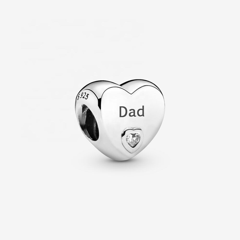 Wholesale sterling silver love heart dad charms designer charms for diy bracelet father's day gift 2020