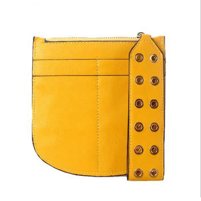 Yellow PU Leather Rivet Strap Card Holder Small Leather Wallet Zipper Coin Pocket