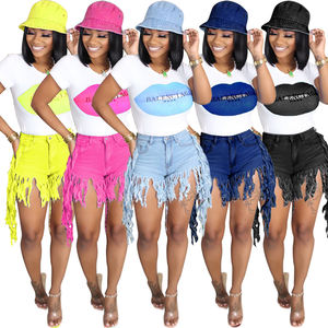 2020 Wholesale Lady Destroyed Bermuda Denim Jeans Ripped Skinny Womens Shorts