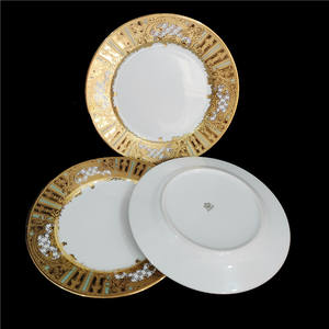 Popular item hotel restaurant used luxury gold inlay ceramic dinner plates for weddings