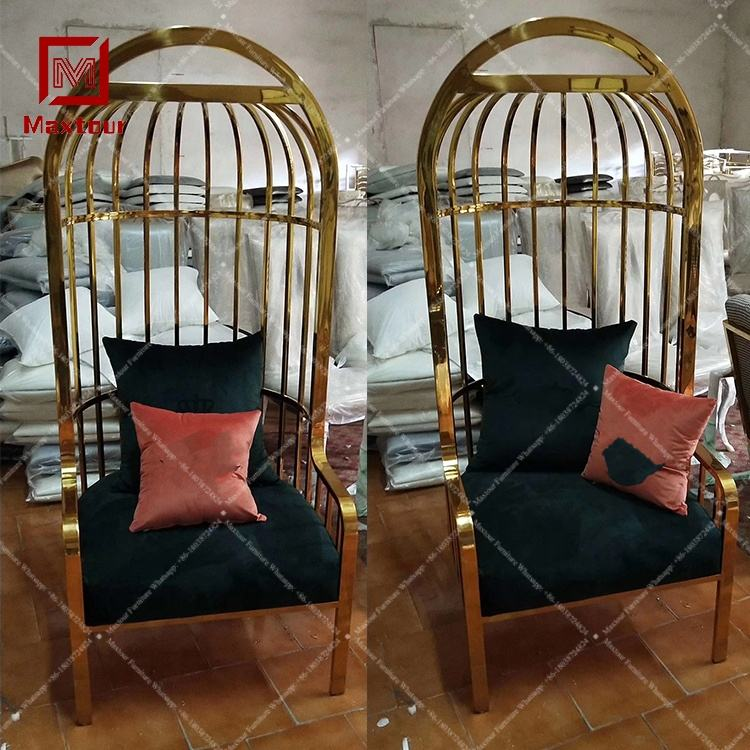 Hotel lobby hall stainless steel birdcage high back black velvet salon chairs