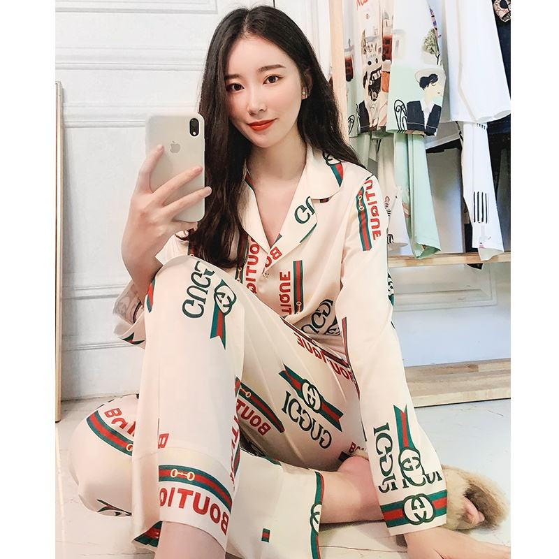Fashion ladies night two piece letter satin silk pajama sets women's sleepwear
