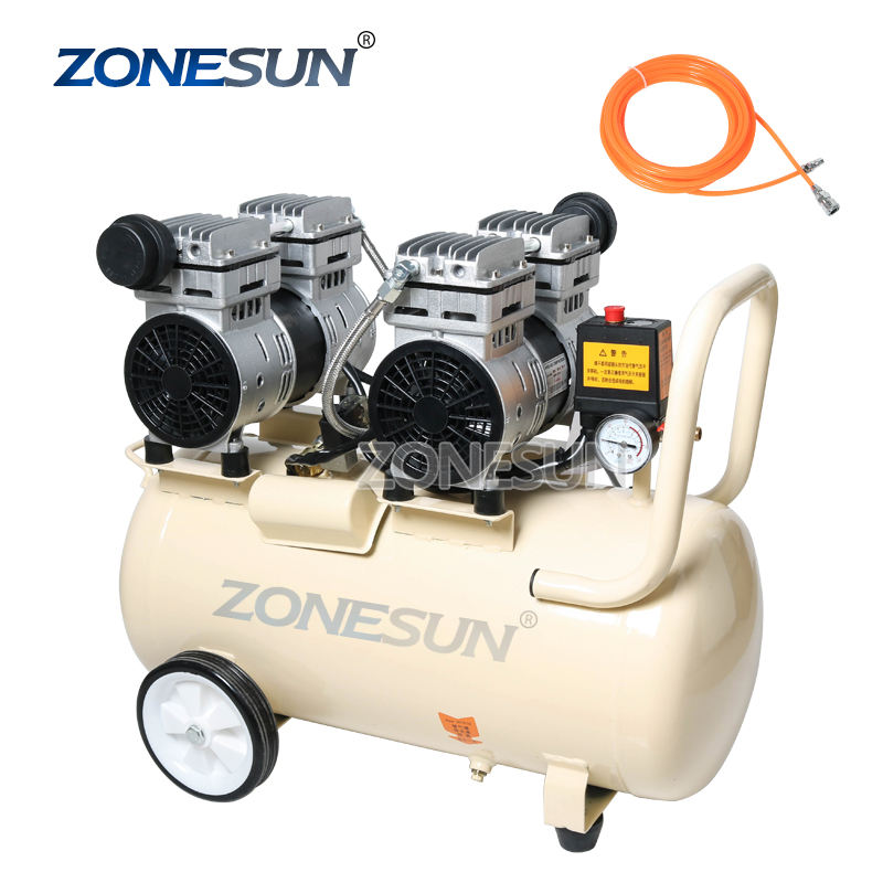 ZONESUN 750W 50L Pure Copper Piston Type Mute Oil-Free Air Compressor For Dental Woodworking Paint Portable Air Pump