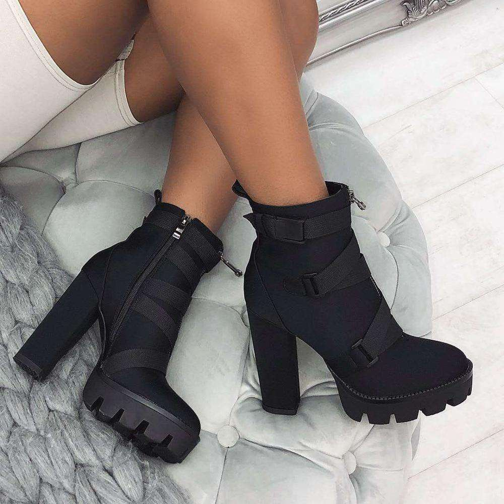 High quality new design thick high heel ladies Black Buckle Platform Ankle Boots