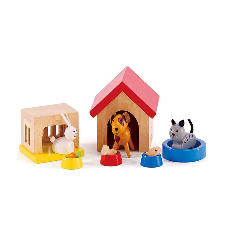 Familie haustiere holz puppenhaus tier set durch hape komplette ihr holz puppen haus puppe haus holz <span class=keywords><strong>spielzeug</strong></span>