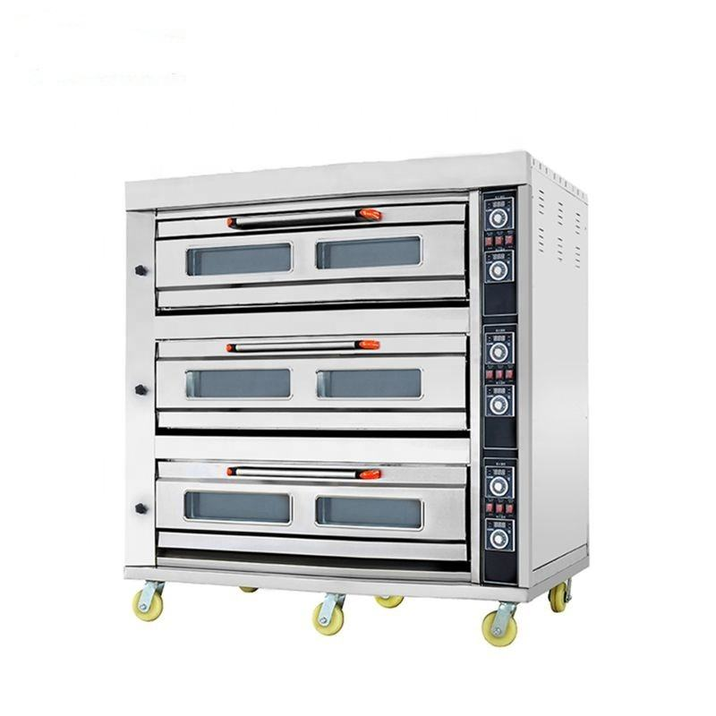 Professional Bakery Manufacturer 3 Deck 9 Trays Stainless Steel baking bread gas oven