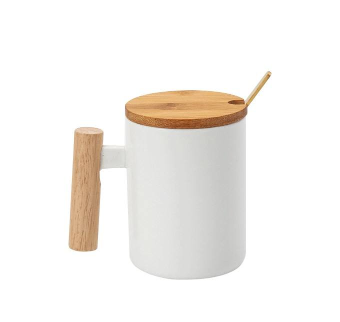 Nordic Porcelain Mug Bamboo Lid Ceramic Cup With Lid And Spoon Wooden Handle Ceramic Coffee Mug
