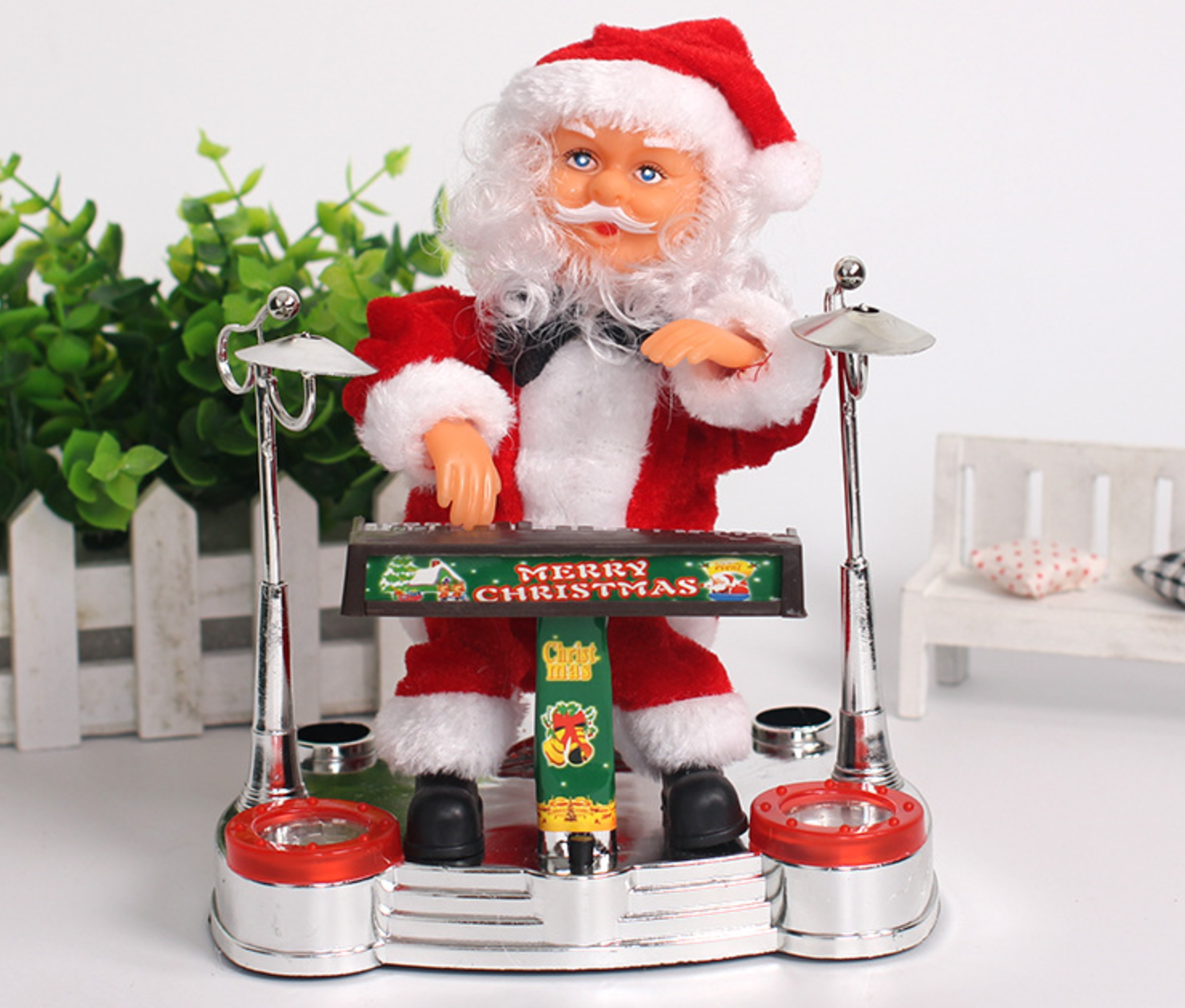 Wind Up Drummer Toy Christmas Santa Claus Mechanical Plastic Toy Christmas Gifts