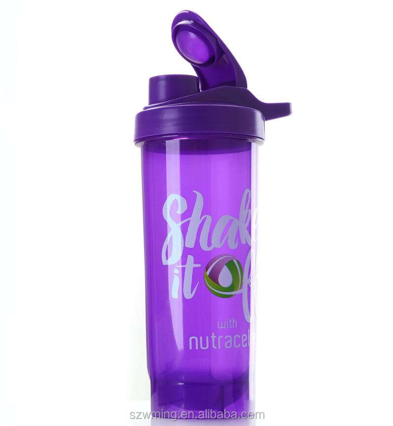 Eco-friendly slender straight PP shaker bottle with customized logo protein blender cup bottle with stress ball