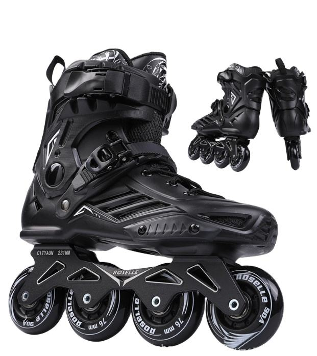 Top Selling green Light Up Wheels Inline Skates Roller inline aggressive Skating Skiing shoes with thickness aluminium chassis