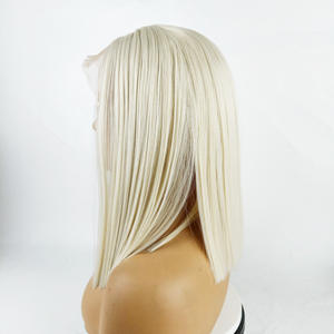 Wholesale Platinum Blond Bob Straight Hair Wigs Transparent Lace Front Synthetic Short Hair
