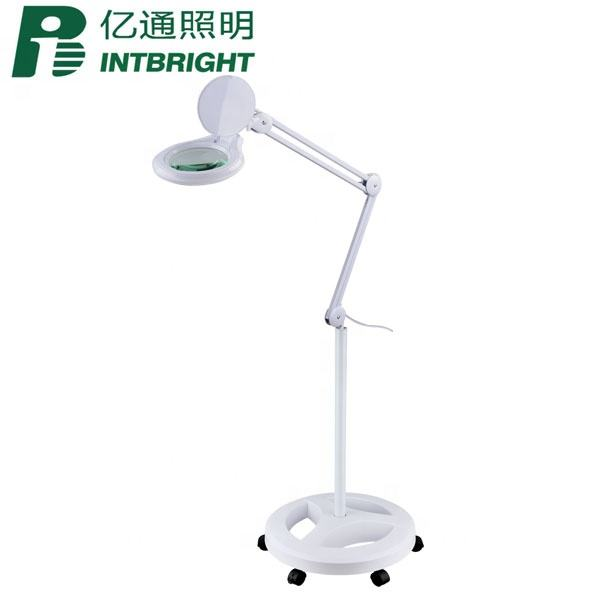 LED facial lighted magnifier floor standing lamp 6 wheels rolling base dimmable LED magnifying floor lamp for nail art