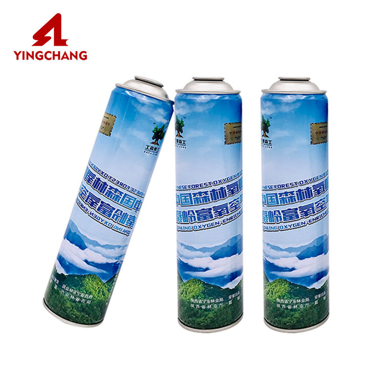 Refillable tin empty bottled air spray portable flavored oxygen aerosol can with mask