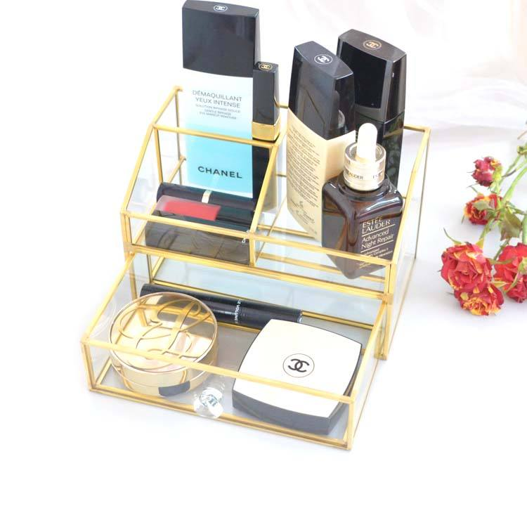 Home New glass brass acrylic handle Clear Brushes Holder makeup storage organizer