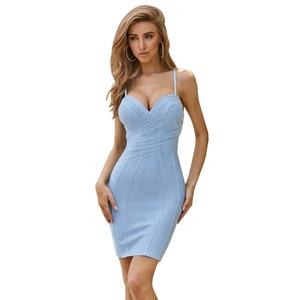 OEM/ODM sexy blau backless spaghetti strap frauen kleider cocktail für party club