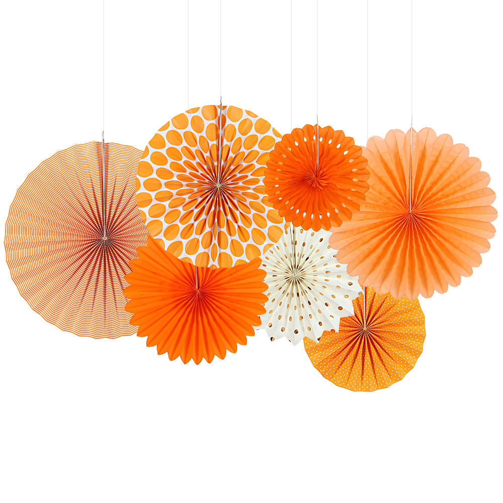 Hadiyah Fabrik Amazon eBay HOT SALE Party liefert Dekoration 7 teile/satz Orange <span class=keywords><strong>Thema</strong></span> DIY Papier Handwerk Papier Fan Rosette