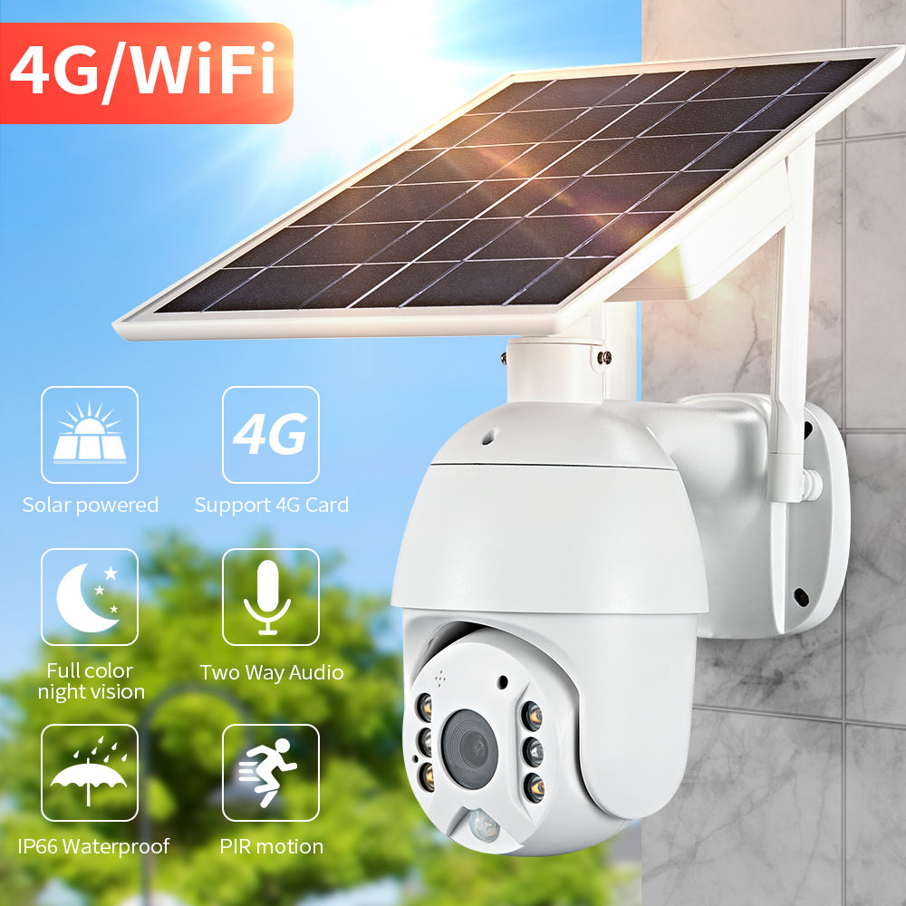 Loosafe Solar Powered CCTV Camera 4G 1080P Outdoor Wifi IP Solar CCTV Wireless Camera PTZ with 6 batteries