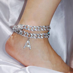 2020 New Small Ltter Cuban Link Anklet 8mm Iced Out Cuban An