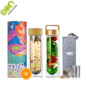 No minimum personalized GA6010 Reusable 450ml borosilicate fruit infusing Double Wall glass water bottles With Bamboo Lid