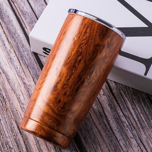 20OZ Travel wholesale Stainless Steel Double Wall Insulated Tumbler Cup Custom wood grain Vacuum coffee tumbler With Lid