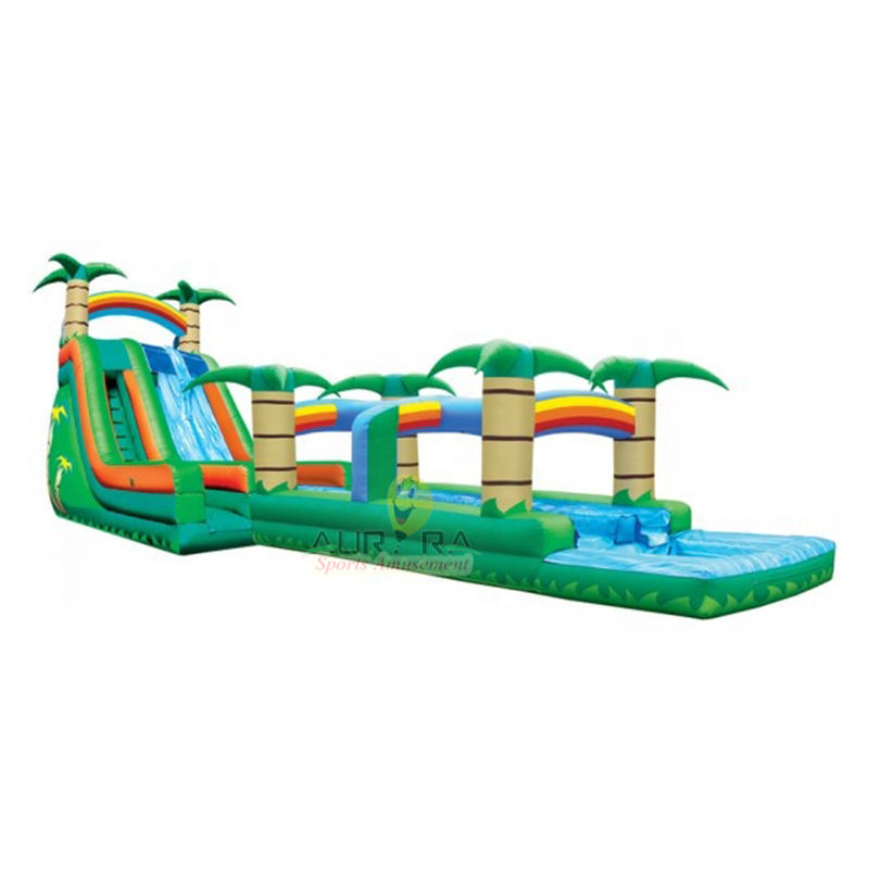 Factory custom palm tree inflatable water slides inflatable large slide with pool for water park slide