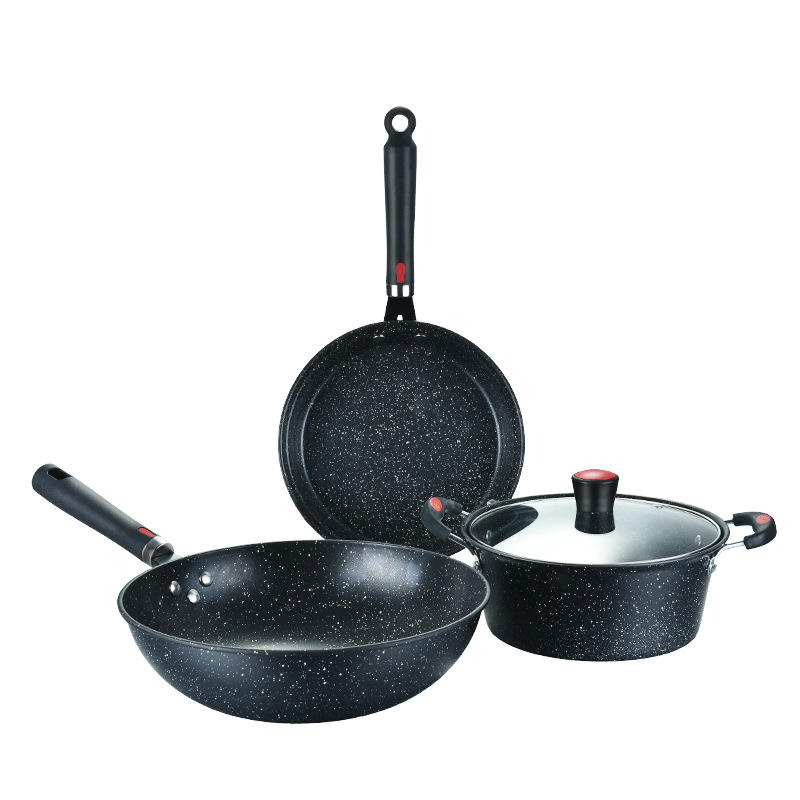 Amazon top selling 3 pcs medical stones non stick cookware kitchen set cooking pot