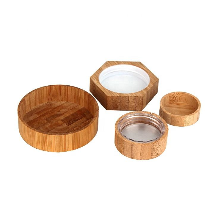 eco friendly glass jar bamboo wooden cap for cosmetic cream jars containers