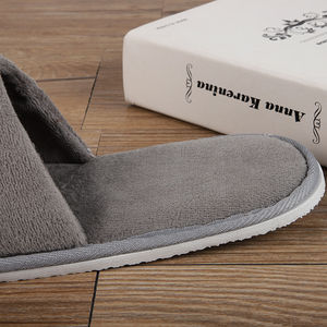China Factory Custom Logo Hotel Disposable Closed Toe Gray Slippers