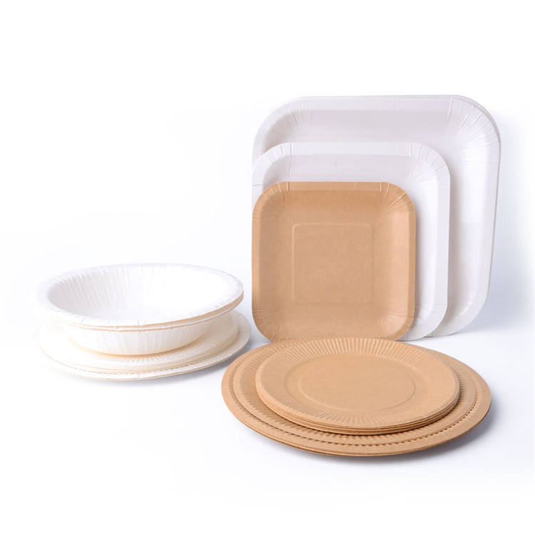 Disposable Round Plates Compostable Eco Friendly Environmental sugarcane bagasse paper pulp plate