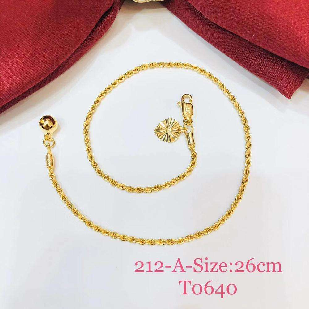 Anklet-212 xuping body jewellery anklets foot jewelry gold chain anklet, beaded design bell charm rope anklet bracelet