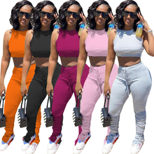 Casual Sports Active Wear Matching Set Women Tracksuit Workout 2 Piece Outfits Skinny Crop Top And Stacked Pants Sets B117