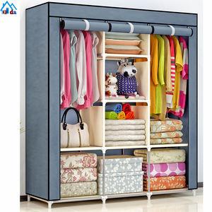 Hot sell Foldable DIY solid wood and non woven fabric portable wardrobe/storage wardrobe