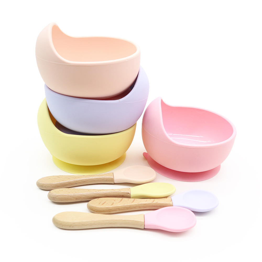 Safety Silicone baby products supplies amazon hot selling Flatware bebe Tableware Food-grade bowl