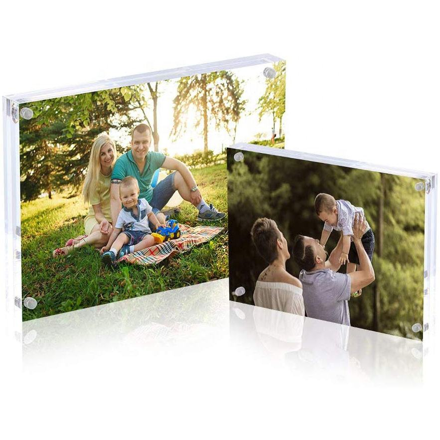 Crystal Clear Acryl Dubbelzijdig Cube Glas Fotolijst Display Houder Decor <span class=keywords><strong>4X6</strong></span> Magnetische Zwevende Fotolijst