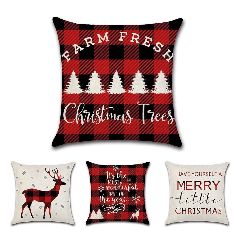 18x18 Inch Christmas Tree And Deer Red Plaid Pattern Linen Cushion Cover Pillow Case