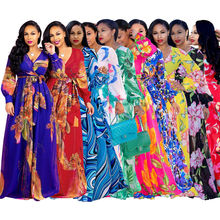 16 Colors Bench Long Sleeve V-neck Casual Chiffon Floral Maxi Dresses Women Summer 2020