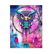 J1782 Yiwu soumeng wholesale and custom living room paint art canvas diy  owl diamond painting cross stitch