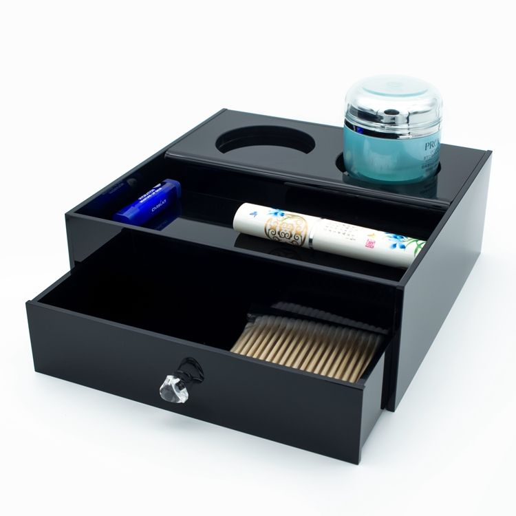 china supplier acrylic hotel amenity box ultra-compact hospitality tray with a unique drawer