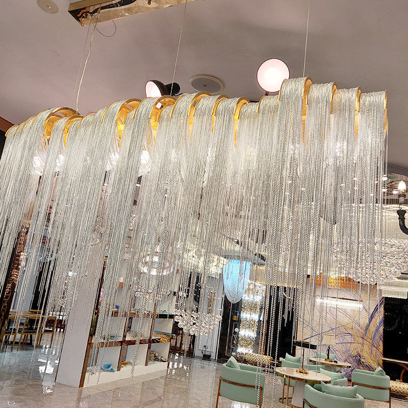 Luxury Shopping Mall Decoration Hand Blown Crystal Chandelier Ceiling Light Fixture Nordic Crystal Lampwork Pendant