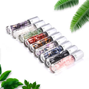 In stock essential oil bottle 10ml natural stone perfume glass roll on bottle with box